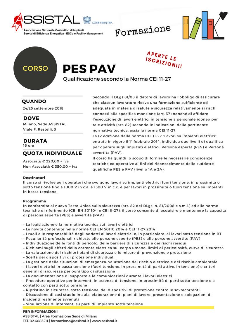 Corso PES PAV Cei 11-27 Milano